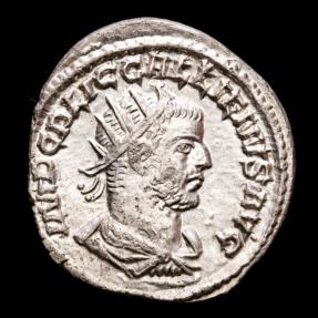 Ancient Coins - Gallienus (253-268 A.D.). Silvered antoninianus. Samosata. VOTA ORBIS, two Victories hanging shield inscribed S / C to palm tree.