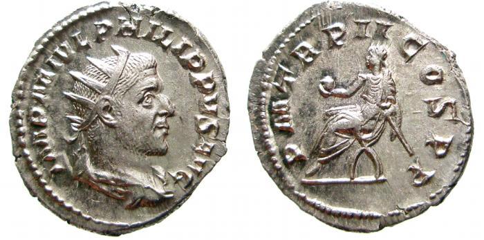 Ancient Coins - Philip I AR antoninianus. 245, Rome, PM TR P II COS P P. EF.