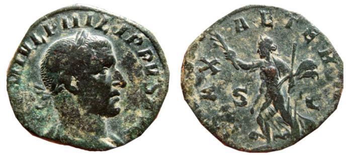 Ancient Coins - Philip I AE sestertius. Rome, 244-249 AD. PAX AETERNA S-C.