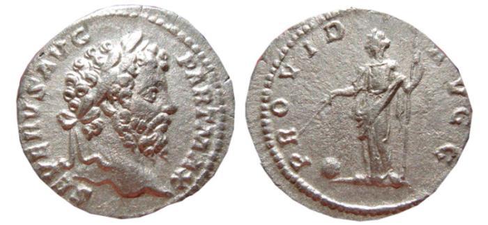 Ancient Coins - Septimius Severus AR denarius. Rome, 200-210 AD. PROVID AVGG. Providentia.