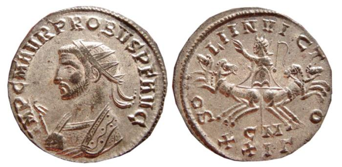 Ancient Coins - Probus silvered antoninianus. Cyzicus. 276-282 AD. SOLI INVICTO, CM XXIГ. EF.