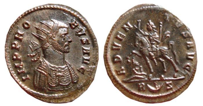 Ancient Coins - Probus billon antoninianus. Rome, 279 AD. ADVENTVS AVG. R crescent S. EF.
