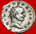 Ancient Coins - Roman Empire - Trajan Decius (249-251 A.D.) silver antoninianus (3,92 grs. 21 mm.), Rome mint, 251 A.D. DIVO VESPASIANO. Rare!!!
