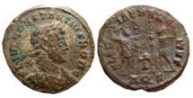 Ancient Coins - Constantius II as Caesar AE follis. Aquileia, GLORIA EXERCITVS. AQS. Cross. Extremely rare.