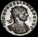 Ancient Coins - Aurelian - 270-275 A.D. Silvered Billon Antoninianus. Serdica. - ORIENS AVG // XXIT Sol and emperor