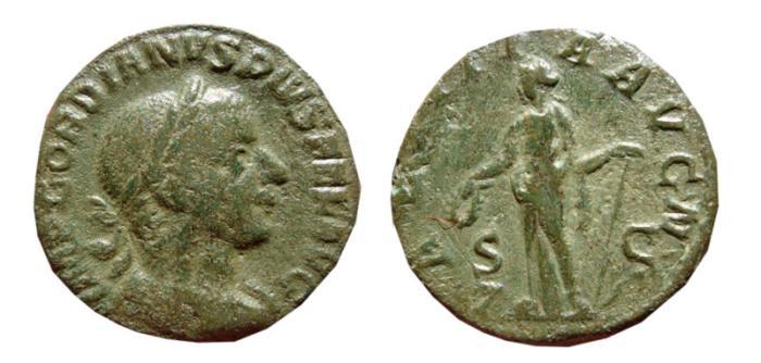 Ancient Coins - Gordian III AE as. Rome. 240-243 AD. LAETITIA AVG N. S-C. RARE.