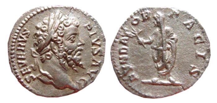 Ancient Coins - Septimius Severus AR denarius. Rome, 201 AD. FVNDATOR PACIS.