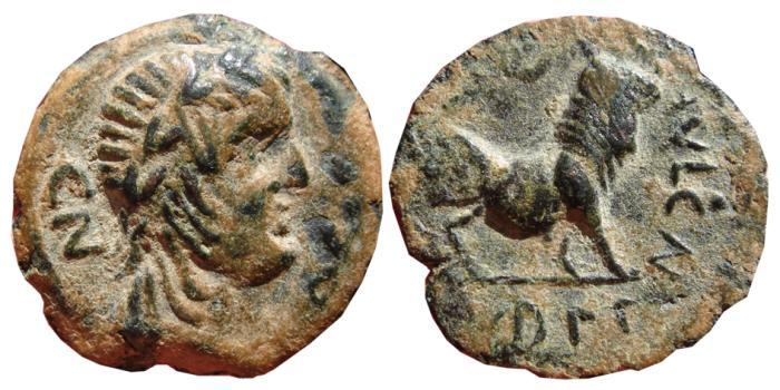 Ancient Coins - SPAIN, AE semis Castulo (Linares, Jaen). 180 B.C. CASTELE.  CN.VOC.S.T.F.R./CN.FVL.CN.F