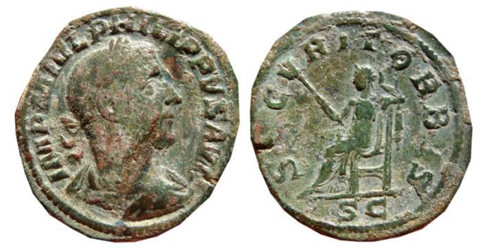Ancient Coins - Philip I AE sestertius. Rome, 244-249 AD. SECVRIT ORBIS.