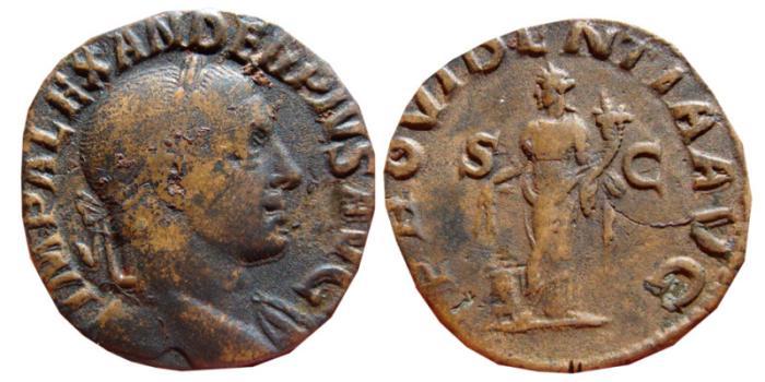 Ancient Coins - Severus Alexander AE sestertius. Rome, 232 AD. PROVIDENTIA AVG.