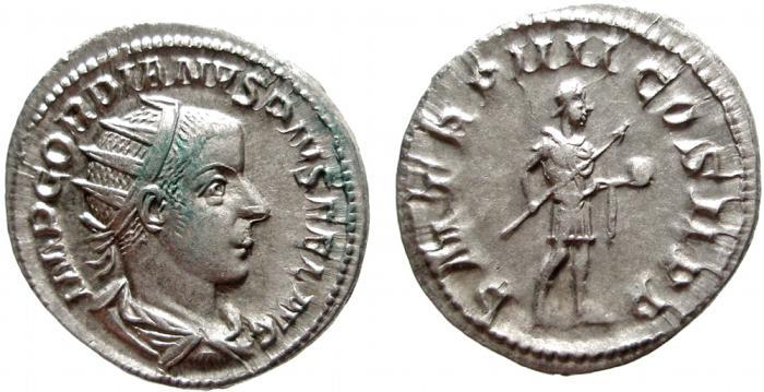 Ancient Coins - Gordian III AR Antoninianus, Rome mint. Struck 241-2 AD. P M TR P IIII COS II P P. EF/VF+