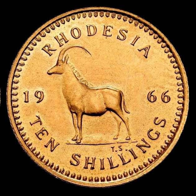 World Coins - Rhodesia ( Zimbabwe ) - 10 Shillings - 1966 - Elizabeth II / Antilope. - Gold