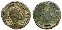 Ancient Coins - Philip I AE sestertius 248, SAECVLARES AVGG S – C Cippus inscribed COS / III. Scarce.