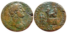 Ancient Coins - HADRIAN, A.D. 117-138. bronze Sestertius, Rome 120, RIC 585a. Extremley rare!!