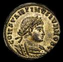 Ancient Coins - CONSTANTINE II (Caesar, 316-337). Æ Silvered Bronze Follis. Alexandria. GLORIA EXERCITVS / SMALB.