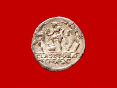 Ancient Coins - Roman Republic- Very rare Sextus Pompey silver denarius (3,87 g. 18 mm.) mint in Catania (Sicily), 42-40 B.C. MAG PIVS IMP ITER /Catanaean brothers / PRÆF /CLAS ET ORÆ MARIT EX S C