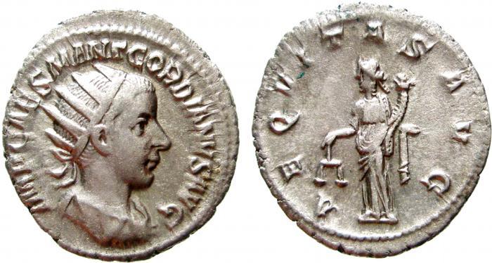 Ancient Coins - Gordian III AR antoninianus. Rome, 240 AD. AEQVITAS AVG. VF+.