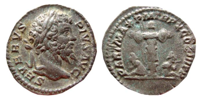 Ancient Coins - Septimius Severus AR denarius. 202 AD. PART MAX P M TR P X COS III P P. Trophy.