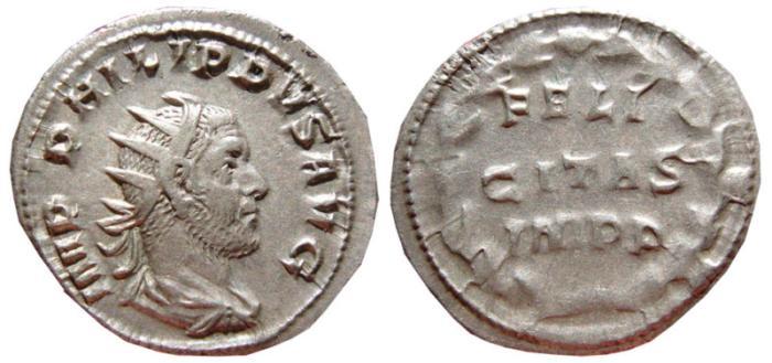Ancient Coins - Philip I AR antoninianus. Rome, 247-249 AD. FELI / CITAS / IMPP. RARE.