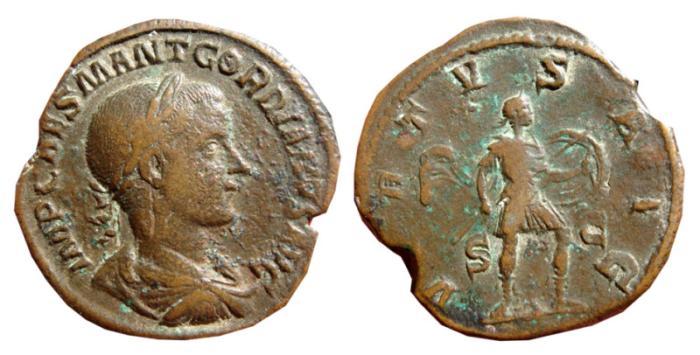 Ancient Coins - Gordian III AE sestertius. 238-239 AD. VIRTVS AVG. S-C. RARE.