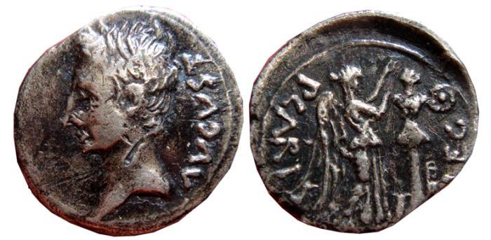 Ancient Coins - Augustus AR quinarius. Emerita mint. P CARISI LEG.25 - 23 B.C.