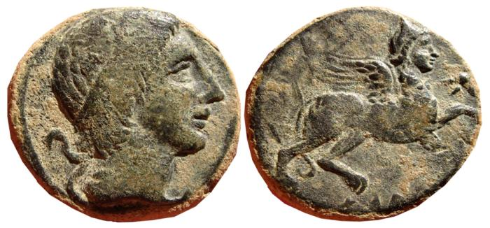 Ancient Coins - SPAIN, AE as Castulo (Linares, Jaén). First emission. 180 B.C. CASTELE. Sphinx. Curve legends. Very scarce. EF.