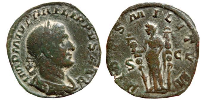 Ancient Coins - Philip I AE sestertius. Rome, 244-249 AD. FIDES.MILITVM. S-C.