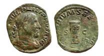 Ancient Coins - Philip I AE sestertius. Rome, 248 AD.  MILIARIVM SAECVLVM. S.C. Cippus inscribed COS/III; S C. RARE.