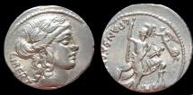 Ancient Coins - C. VIBIUS C. F. CN. PANSA CAETRONIANUS. Denarius (48 BC). Rome. EF!
