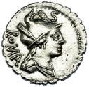 Ancient Coins - C. Poblicius Q. serrate denarius, 80 BC. Hercules & Nemean Lion Extremely Fine Condition