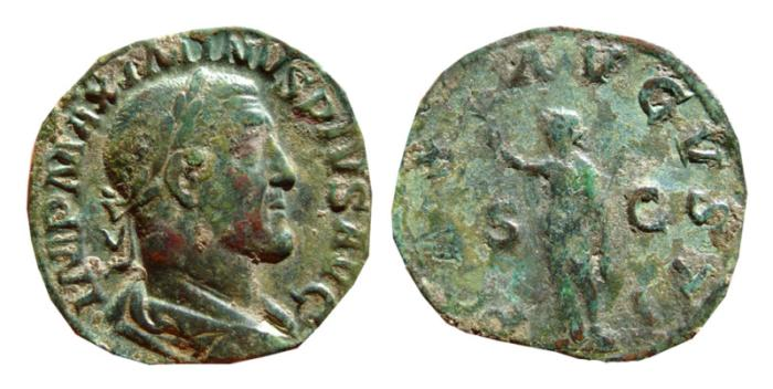 Ancient Coins - Maximinus I Æ sestertius. Rome, 236-238 AD. PAX AVGVSTI S-C.
