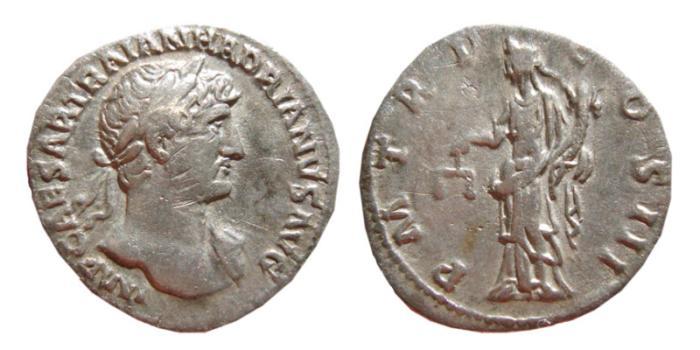 Ancient Coins - Hadrian AR denarius. Rome, 119-122 AD. PM TR P COS III. Aequitas.