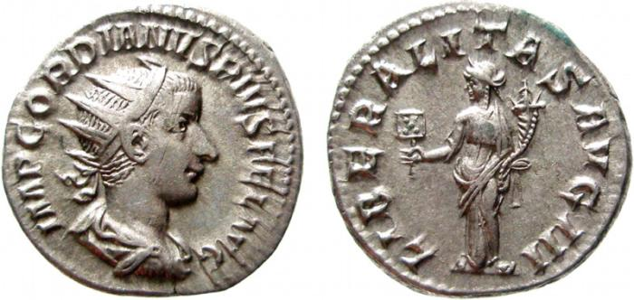 Ancient Coins - Gordian III AR antoninianus. Rome, 240-1. LIBERALITAS AVG III. VF+/ EF