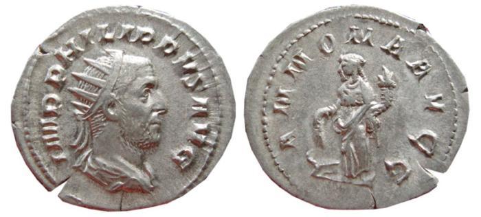 Ancient Coins - Philip I AR antoninianus. Rome, 244-247 AD. ANNONA AVGG.