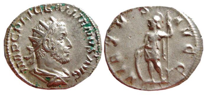 Ancient Coins - Gallienus AR antoninianus. Rome, 254 AD. VIRTVS AVGG. VF+.