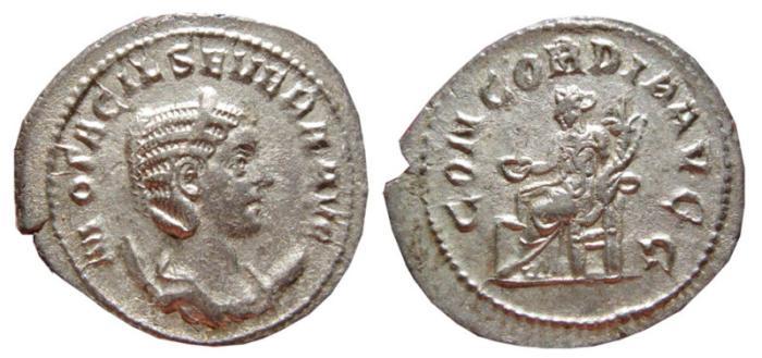 Ancient Coins - Otacilia Severa AR antoninianus. Rome, 244-249 AD. CONCORDIA AVGG.