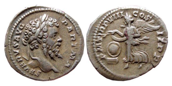 Ancient Coins - Septimius Severus AR denarius. 201 AD. PM TRP VIII COS II PP. Victory.