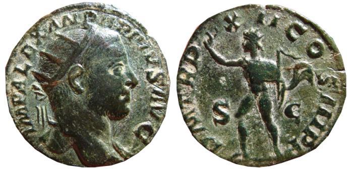 Ancient Coins - Severus Alexander Æ dupondius. Rome, 233 AD.  P M TR P XII COS III P P S C. VF+. Scarce.