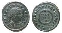 Ancient Coins - Crispus AE follis. Ticinum.  320 - 321 A.D.; DOMINOR NOSTROR CAESS, VOT X. TT. Scarce.