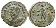 Ancient Coins - Constantius I AE large follis. Trier B/* TR. GENIO POPVLI ROMANI. Bust to left whit spear & shield
