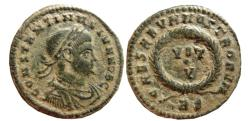 Ancient Coins - Constantine II, as Caesar. Æ Follis. Rome, 321 AD. AESARVM NOSTRORVM, VOT / V. RS.