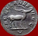 Ancient Coins - Rare and lovely PHILIP I (A.D. 244-249) silver antoninianus (3.79 grs.-22 mm),  A.D. 248, Rome mint.  SAECVLARES AVGG, U in exergue, stag. RIC 19.