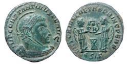 Ancient Coins - Constantine I AE helmeted follis. 318 - 319 A.D. Siscia. VICTORIAE LAETAE PRINC PERP, two Victories. €SIS.