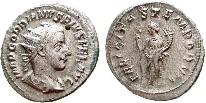 Ancient Coins - Gordian III AR antoninianus. Rome. FELICITAS TEMPORVM. EF. Scarce.