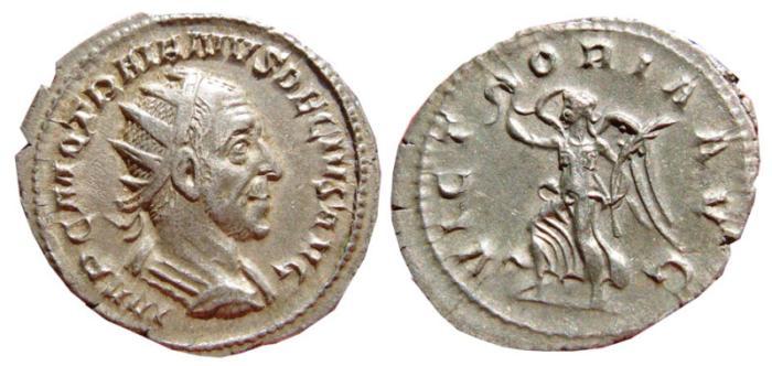 Ancient Coins - Trajan Decius AR antoninianus, Rome, 249-251 AD. VICTORIA AVG.