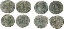 Roman Empire - Four roman bronze coins lot of Constans (2), Constantius II (1) and Constantinopolis (1) from Arles mint.