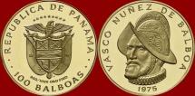 Panamá - 100 balboas gold coin. 1975 - Franklin mint (U.S.A.). 500º birthday anniversary of Vasco Nuñez de Balboa.