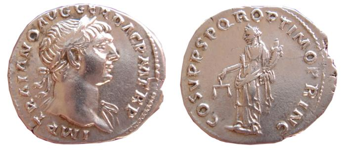 Ancient Coins - Trajan AR denarius, Rome, AD 103-111. COS V P P S P Q R OPTIMO PRINC. EF.