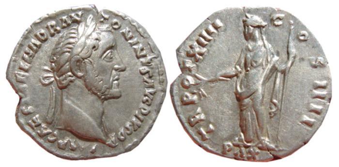 Ancient Coins - Antoninus Pius silver denarius. Rome, 159 AD. TR POT XIIII COS IIII, PAX.