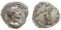 Ancient Coins - Hadrian AR Denarius. Rome mint. Struck 119-122 AD. I M TR P COS III, Pax.
